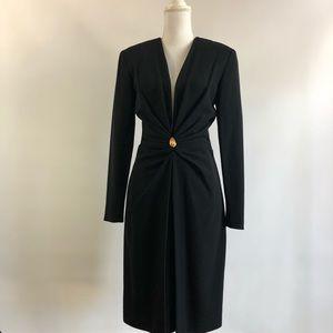 Anne Klein 6 Black Wool Dress Deep V